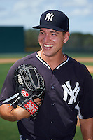 GCL Yankees East pitcher Trevor Lane (67) laughs at a teammates remark while posing for a photo before a game against the GCL Pirates on August 15, 2016 at the Pirate City in Bradenton, Florida.  GCL Pirates defeated GCL Yankees East 5-2.  (Mike Janes/Four Seam Images)