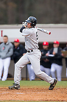 Evan Stephens (5) of the Wake Forest Demon Deacons follows through on his swing against the Davidson Wildcats at Wilson Field on March 19, 2014 in Davidson, North Carolina.  The Wildcats defeated the Demon Deacons 7-6.  (Brian Westerholt/Four Seam Images)