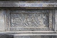 Yogyakarta, Java, Indonesia.  Prambanan Hindu Temples.  Stone Carving on Wall.