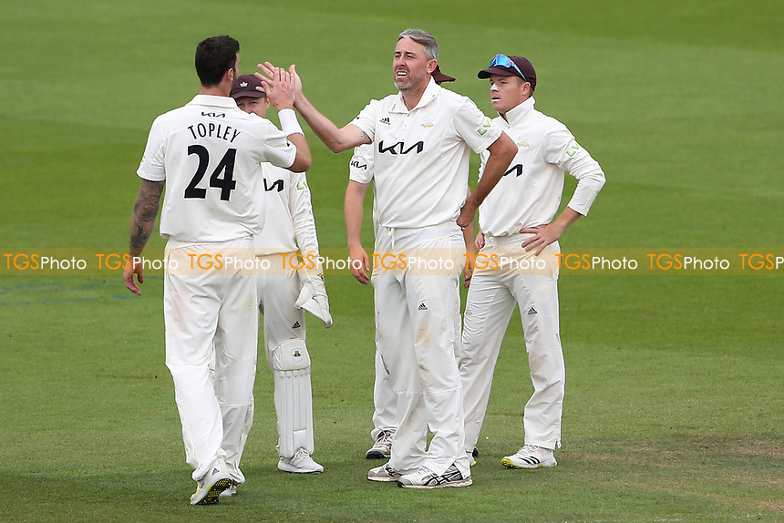 Rikki Clarke of Surrey celebrates taking the wicket of Tom Westley during Surrey CCC vs Essex CCC, LV Insurance County Championship Division 2 Cricket at the Kia Oval on 12th September 2021
