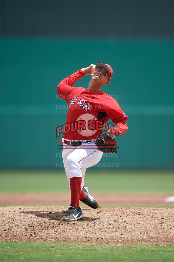 GCL Red Sox starting pitcher Jose Gonzalez (59) delivers a pitch during a game against the GCL Rays on August 1, 2018 at JetBlue Park in Fort Myers, Florida.  GCL Red Sox defeated GCL Rays 5-1 in a rain shortened game.  (Mike Janes/Four Seam Images)