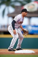 Jupiter Hammerheads third baseman Justin Twine (1) during a game against the Bradenton Marauders on May 25, 2018 at LECOM Park in Bradenton, Florida.  Jupiter defeated Bradenton 3-2.  (Mike Janes/Four Seam Images)