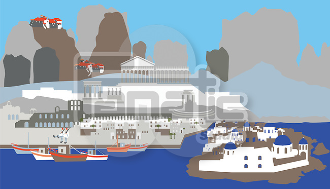 Illustration showing top tourist attractions in Greece