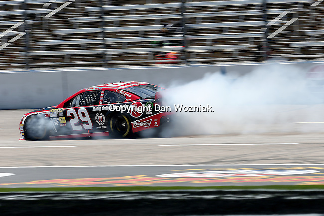 Sprint Cup Series driver Kevin Harvick (29) blows an engine during the Nascar Sprint Cup Series practice session at Texas Motor Speedway in Fort Worth,Texas.