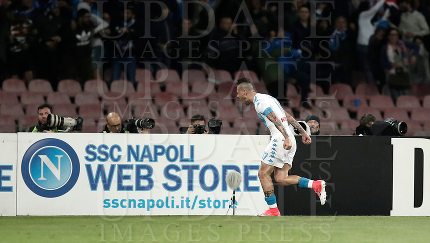 Calcio, Serie A: Napoli, stadio San Paolo, 2 aprile, 2017.<br /> Napoli's Marek Hamsik celebrates after scoring during the Italian Serie A football match between Napoli and Juventus at San Paolo stadium, April 2, 2017<br /> UPDATE IMAGES PRESS/Isabella Bonotto