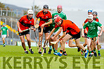 David O'Sullivan, Ballyheigue, in action against Dylan Moriarty, Ballyduff,  during the Kerry County Minor Hurling Championship Final match between Ballyduff and Ballyheigue at Austin Stack Park in Tralee, Kerry.