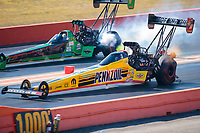 Oct 20, 2019; Ennis, TX, USA; NHRA top fuel driver Leah Pritchett (near) defeats Kebin Kinsley during the Fall Nationals at the Texas Motorplex. Mandatory Credit: Mark J. Rebilas-USA TODAY Sports