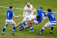 13th February 2021; Twickenham, London, England; International Rugby, Six Nations, England versus Italy; Tom Curry of England tackles Luca Sperandio of Italy