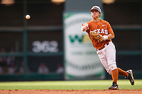 Texas Longhorns second baseman Brooks Marlow #8 makes a throw to first base during the NCAA baseball game against the Houston Cougars on March 1, 2014 during the Houston College Classic at Minute Maid Park in Houston, Texas. The Longhorns defeated the Cougars 3-2. (Andrew Woolley/Four Seam Images)
