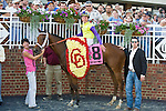 20 June 2009: Battle of Hastings (GB) and Tyler Baze after winning the Colonial Turf Cup (Gr II) stakes race. Battle of Hastings is owned by M. House and trained by J. Mullins.