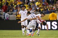 Pasadena, CA - Tuesday June 07, 2016: Colombia midfielder Sebastián Pérez (13) and Paraguay midfielder Oscar Romero (21) during a Copa America Centenario Group A match between Colombia (COL) and Paraguay (PAR) at Rose Bowl Stadium.
