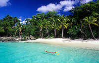 Snorkeler at Salomon Beach<br /> Virgin Islands National Park<br /> St. John<br /> U.S. Virgin Islands