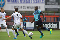 Adebayo Akinfenwa of Wycombe Wanderers during the Friendly match between Aldershot Town and Wycombe Wanderers at the EBB Stadium, Aldershot, England on 26 July 2016. Photo by Alan  Stanford.