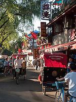 Fahrrad-Rikscha am See Hou Hai, Peking, China, Asien<br /> cycle rickshaw at Hou Hai lake