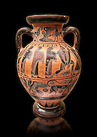 560-550 B.C Etruscan attica style amfora painted in the style of Lydos, inv 70995,   National Archaeological Museum Florence, Italy , black background
