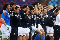 """La nazionale durante l'inno.Roma 11/20/2012 Stadio """"Olimpico"""".Rugby 6 Nations Tournament - Torneo delle 6 Nazioni 2012.Italia Vs Inghilterra - Italy Vs England .Foto Insidefoto Andrea Staccioli"""