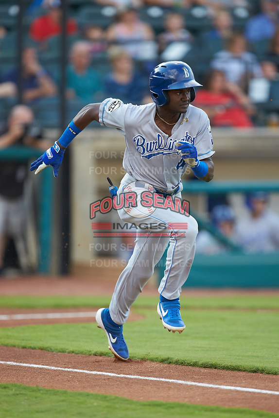 Diego Hernandez (4) of the Burlington Royals hustles down the first base line against the Pulaski Yankees at Calfee Park on September 1, 2019 in Pulaski, Virginia. The Royals defeated the Yankees 5-4 in 17 innings. (Brian Westerholt/Four Seam Images)