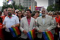 Montreal - CANADA - August 17 - Liberal leader justin Trudeau, Quebec Premier Philippe Couillard and Montreal Mayor Denis Coderre are among the dignitaries attending the Montreal Gay Pride, August 17, 2014.<br /> <br /> Agence Quebec Presse - Mohamed Khadri