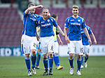 Hearts v St Johnstone…19.03.16  Tynecastle, Edinburgh<br />Steven Anderson making a record breaking 362 appearances for saints celebrates at full time with Brian Easton and David Wotherspoon<br />Picture by Graeme Hart.<br />Copyright Perthshire Picture Agency<br />Tel: 01738 623350  Mobile: 07990 594431