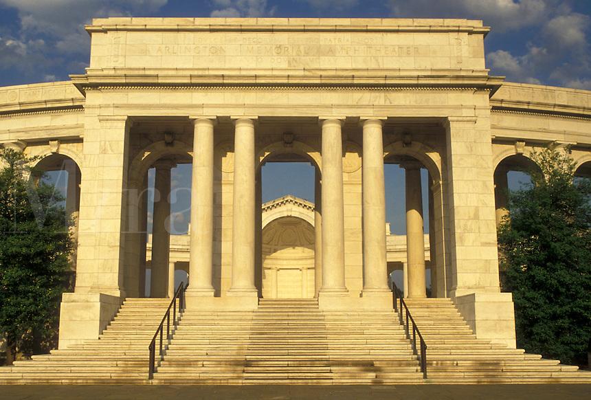 AJ4215, Arlington, National Cemetery, Virginia, Memorial Amphitheater a white marble structure at Arlington Nat'l Cemetery in Arlington in the state of Virginia.