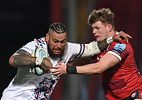 12th February 2021; Kingsholm Stadium, Gloucester, Gloucestershire, England; English Premiership Rugby, Gloucester versus Bristol Bears; Nathan Hughes of Bristol Bears hands off Freddie Clarke of Gloucester