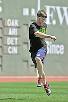 """10 June 2012: Washington Nationals outfielder Bryce Harper warms up in front of the """"Green Monster"""" prior to a game against the Boston Red Sox at Fenway Park in Boston, MA. The Nationals defeated the Red Sox 4-3 to sweep their 3-game interleague series. Mandatory Credit: Ed Wolfstein Photo"""