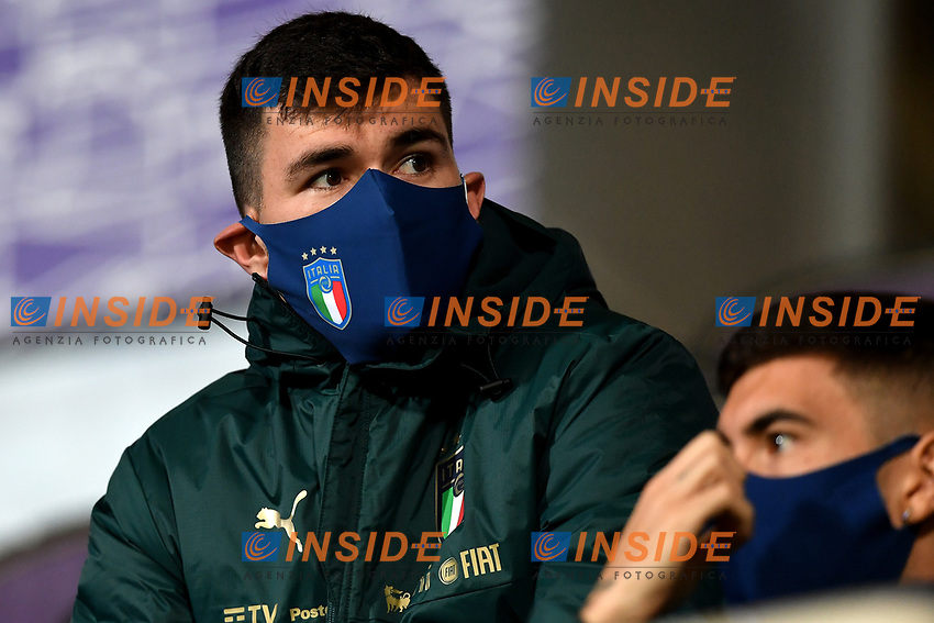 Alessio Romagnoli of Italy, wearing a mask, attends from the tribune the friendly football match between Italy and Estonia at Artemio Franchi Stadium in Firenze (Italy), November, 11th 2020. Photo Andrea Staccioli/ Insidefoto