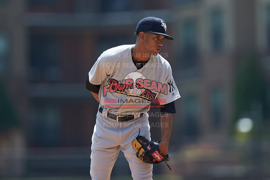 Scranton/Wilkes-Barre RailRiders starting pitcher Adonis Rosa (23) looks to his catcher for the sign against the Gwinnett Stripers at Coolray Field on August 18, 2019 in Lawrenceville, Georgia. The RailRiders defeated the Stripers 9-3. (Brian Westerholt/Four Seam Images)