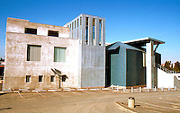 Frank Gehry: ICS/ERF Complex. U.C. Irvine, 1984. (South elevation) Engineering Research Facility (Lab) to left. Admin. bldg. to right.  Photo '86.