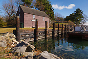 The John Hancock Warehouse and Wharf in York, Maine. Built in the 18th-century, and added to the National Registry of Historic Places in 1969, this is the last remaining commercial building on the York River from the Colonial period.