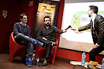 "Spanish eSports League of Legends in german Team Alternate player Alvar ""Araneae"" Martin (L) and Spanish film director Nacho Vigalondo attend the Fun & Serious Game festival presentationattends the Fun & Serious Game festival presentation. (ALTERPHOTOS/Victor Blanco)"