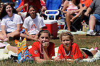Fans watch the finals of the 2011 FIFA Women's World Cup prior to a Women's Professional Soccer (WPS) match between Sky Blue FC and the Western New York Flash at Yurcak Field in Piscataway, NJ, on July 17, 2011.