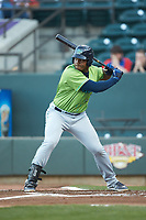 Emmanuel Tapia (28) of the Lynchburg Hillcats at bat against the Winston-Salem Dash at BB&T Ballpark on May 1, 2018 in Winston-Salem, North Carolina. The Dash defeated the Hillcats 9-0. (Brian Westerholt/Four Seam Images)