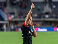 WASHINGTON, DC - MAY 13: Frederic Brillant #13 of D.C. United salutes the crowd after a game between Chicago Fire FC and D.C. United at Audi FIeld on May 13, 2021 in Washington, DC.