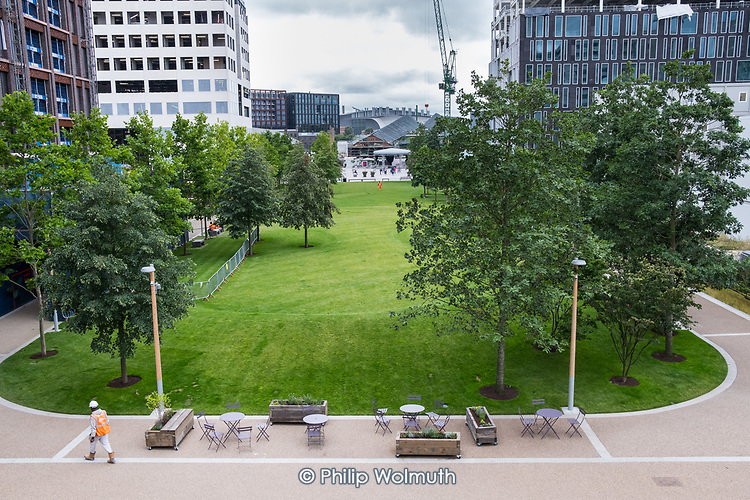 Lewis Cubitt Park, King's Cross, London.  About 40% of the 67-acre King's Cross development is deemed public space, although the entire site is privately owned and managed.