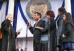 Nevada Gov. Brian Sandoval takes the oath of office from Supreme Court Chief Justice James Hardesty on the steps of the Capitol, in Carson City, Nev., on Monday, Jan. 5, 2015. First lady Kathleen Sandoval and daughters Maddy, 18, and Marisa, 10, are at right. (Las Vegas Review-Journal/Cathleen Allison)