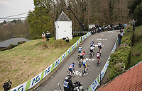 breakaway group on the first ascent up the infamous Mur de Huy<br /> <br /> 85th La Flèche Wallonne 2021 (1.UWT)<br /> 1 day race from Charleroi to the Mur de Huy (BEL): 194km<br /> <br /> ©kramon