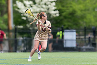 NEWTON, MA - MAY 14: Jillian Reilly #14 of Boston College looks to pass during NCAA Division I Women's Lacrosse Tournament first round game between Fairfield University and Boston College at Newton Campus Lacrosse Field on May 14, 2021 in Newton, Massachusetts.