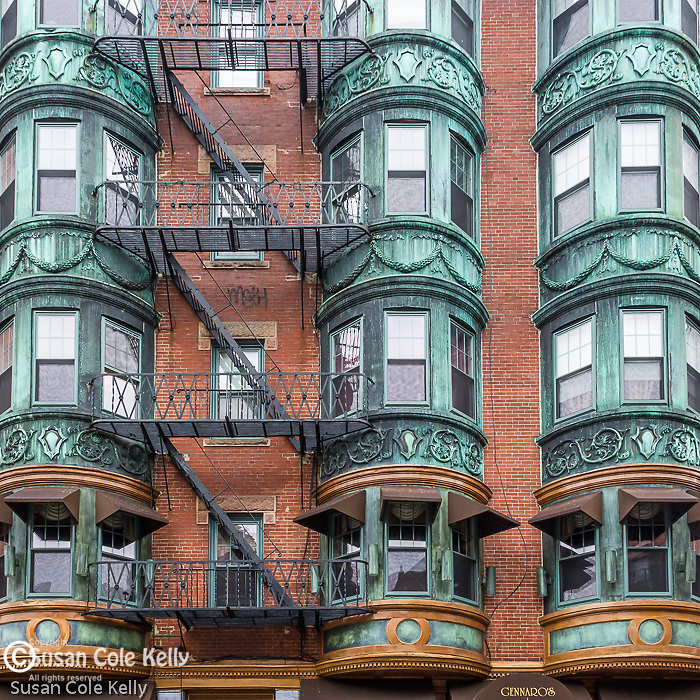 Copper-clad bow windows at 5 North Square in the North End neighborhood, Boston, Massachusetts, USA