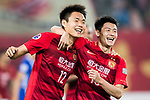 Wang Shangyuan (l) of Guangzhou Evergrande FC celebrates with teammate Zhang Wenzhao during their AFC Champions League 2017 Match Day 1 Group G match between Guangzhou Evergrande FC (CHN) and Eastern SC (HKG) at the Tianhe Stadium on 22 February 2017 in Guangzhou, China. Photo by Victor Fraile / Power Sport Images