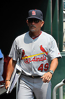 St. Louis Cardinals coach Joe Pettini #49 during a game against the New York Mets at Citi Field on July 21, 2011 in Queens, NY.  Cardinals defeated Mets 6-2.  Tomasso DeRosa/Four Seam Images