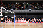 Members of Japan's national volleyball team greets to the audience during the Grand Opening Ceremony of Ariake Arena on February 2, 2020, Tokyo, Japan. The new sporting and cultural centre will host the volleyball and wheelchair basketball competitions during the Tokyo 2020 Olympic Games. (Photo by Rodrigo Reyes Marin/AFLO)