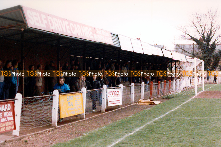 Fenland Park, home of Wisbech Town Football Club (Cambridgeshire), pictured in April 1991 - Gavin Ellis/TGSPHOTO - Self billing applies where appropriate - 0845 094 6026 - contact@tgsphoto.co.uk - NO UNPAID USE..