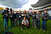 Lions tour photographers, from left, Stephen McCarthy, Ben Evans, Brett Phibbs, David Davies, Dave Rogers, Lynne Cameron, David Gibson, Paul Greenwood and Andrew Cornaga, with Marc Aspland in front, during the 2017 DHL Lions Series NZ All Blacks captain's run at Eden Park in Auckland, New Zealand on Friday, 7 July 2017. Photo: Dave Lintott / lintottphoto.co.nz
