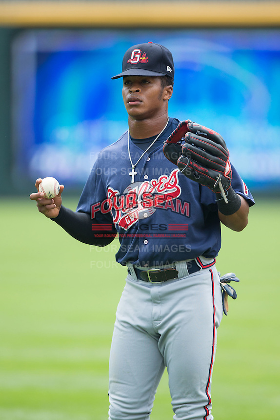Mallex Smith (8) of the Gwinnett Braves warms up in the outfield prior to the game against the Charlotte Knights at BB&T BallPark on July 3, 2015 in Charlotte, North Carolina.  The Braves defeated the Knights 11-4 in game one of a day-night double header.  (Brian Westerholt/Four Seam Images)