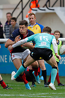 Jonas Mikalcus of London Scottish in action during the Championship Cup match between London Scottish Football Club and Nottingham Rugby at Richmond Athletic Ground, Richmond, United Kingdom on 28 September 2019. Photo by Carlton Myrie / PRiME Media Images