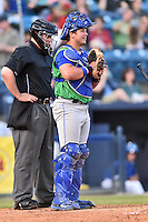 Lexington Legends catcher Chase Vallot (25) during a game against the Asheville Tourists at McCormick Field on April 18, 2016 in Asheville, North Carolina. The Legends defeated the Tourists 7-5. (Tony Farlow/Four Seam Images)