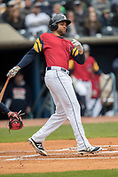 Toledo Mud Hens designated hitter James Loney (5) follows through on his swing against the Lehigh Valley IronPigs during the International League baseball game on April 30, 2017 at Fifth Third Field in Toledo, Ohio. Toledo defeated Lehigh Valley 6-4. (Andrew Woolley/Four Seam Images)