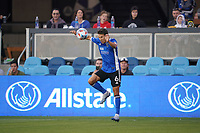 SAN JOSE, CA - AUGUST 17: Shea Salinas #6 of the San Jose Earthquakes during a game between Minnesota United FC and San Jose Earthquakes at PayPal Park on August 17, 2021 in San Jose, California.