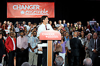 The Leader of the Liberal Party of Canada, Justin Trudeau attend a Liberal rally in Laval.  September 1st, 2015.<br /> <br /> Photo :  Agence Quebec Presse